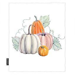 Moslion Pumpkin Blanket Watercolor Pumpkins Lantern Leaves A