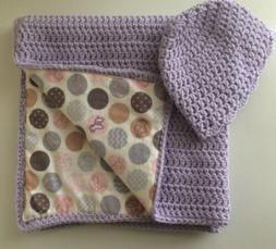 Handmade Purple Baby Blanket Reversible Crochet Bedding Cove
