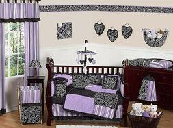 Sweet Jojo Designs 9-Piece Purple and Black Kaylee Girls Bou
