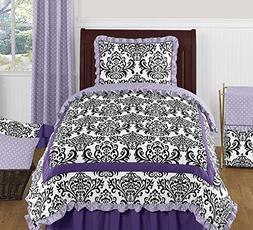Purple Lavender Black & White Damask Twin Polka Dot Bedding