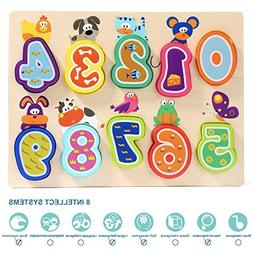 Number Puzzle Board For Toddler Wooden Toy Educational 1 Yea