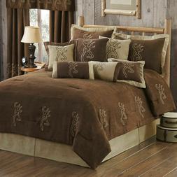 Queen Browning Buckmark Suede Embroidered Deer Comforter Set