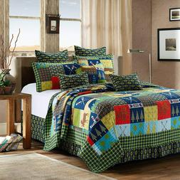 Queen Lake & Lodge Life 3pc Quilt Set Colorful Country Cabin