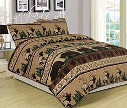 Queen Quilt Set 3 Piece Comforter Bear Elk Log Cabin Lodge R