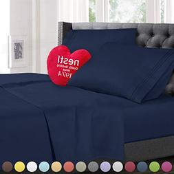 Twin Size Bed Sheets Set Navy Blue, Highest Quality Bedding