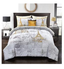 Queen Size Bed in a Bag Pairs Eiffel Tower Comforter Set She