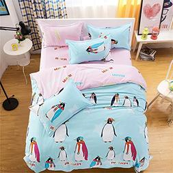EsyDream Queen Twin Size Cute Penguin Design Kids Home Beddi