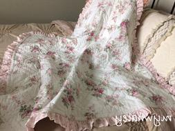 Quilt BABY BLANKET Throw made w/Simply Shabby Chic Pink Rose