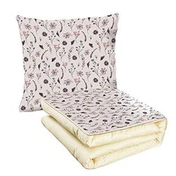 iPrint Quilt Dual-Use Pillow Flower Natural Springtime Laven