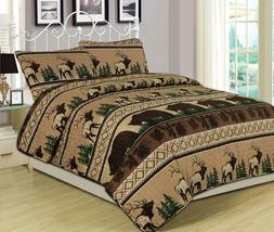 Quilt Set 3 Piece Comforter Bear Elk Log Cabin Lodge Rustic