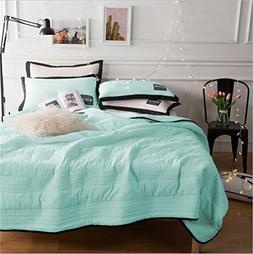PinkMemory 3pc Quilt Sets with Matching Pillow Shams Solid C