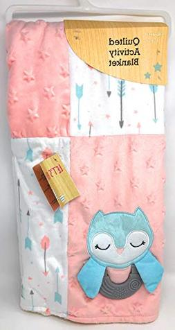 Quilted Activity Baby Blanket  ~ Teal Owl