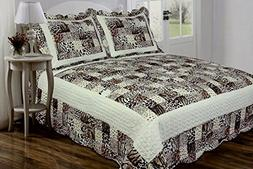 3 PC Quilted Bedspread Coverlet, Multi Animal Print Patchwor