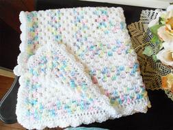 Rainbow Colors White Handmade Baby Afghan Crochet Blanket Sc