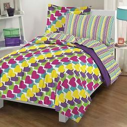 Dream Factory Rainbow Hearts Mini Comforter Set