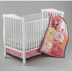 NOJO RASPBERRY JUNGLE CRIB BEDDING SET WITH MUSICAL MOBILE