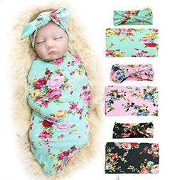 Receiving Blanket with Headbands BQUBO Newborn Baby Floral P