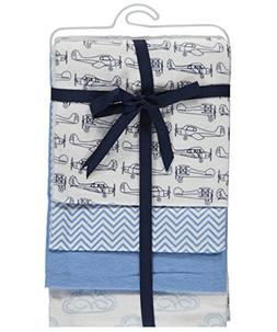 "Hudson Baby ""Planes"" 4-Pack Receiving Blankets - blue, one s"