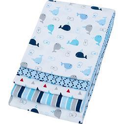 """Garanimals 4 Pack Receiving Blankets Blue 30"""" x 30"""" 100 Perc"""