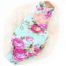 Receiving Blankets Newborn Headband Set Flower Print Baby Sw