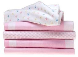 5 Pack Receiving Blankets in Pink Assortment