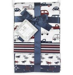 RECEIVING BLANKETS SET 4 COTTON PACK BABY - BOYS - CARS TRUC