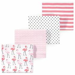 RECEIVING BLANKETS SET 4 COTTON PACK BABY - GIRLS - HUDSON -