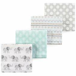 RECEIVING BLANKETS SET 4 COTTON PACK BABY - UNISEX - HB - BO
