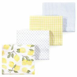RECEIVING BLANKETS SET 4 COTTON PACK BABY - UNISEX - HUDSON