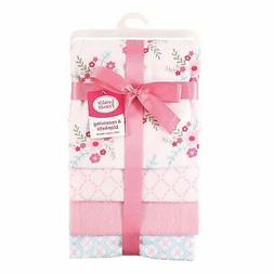 RECEIVING BLANKETS SET 4 COTTON PACK BABY - GIRLS - FLORAL P