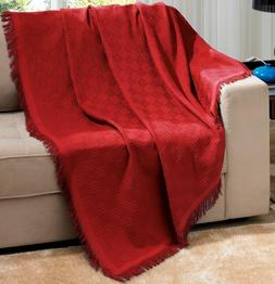 Red Brazilian Cotton London Throw Blanket With Fringe 63x87