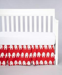 Rockingham Road Red Elephants Crib Skirt  Great for the Gend