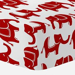 Carousel Designs Red Marching Elephants Crib Sheet - Organic