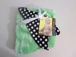 "Silver One Reversible Baby Blanket 30"" X 40"" Green Black Dot"