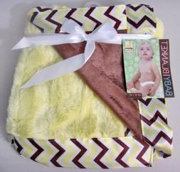 """Silver One Reversible Baby Blanket 30"""" X 40"""" Yellow & Brown"""