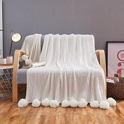 ZHIMIAN Reversible 100% Cotton Knit Throws Pompoms Fringe So