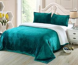 Chezmoi Collection Reversible Micro-mink Sherpa Throw Blanke