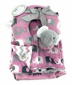 Reversible Pink/Gray Elephant Baby Blanket Gift Set | 30in X