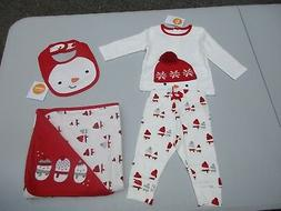 Gymboree Reversible Red Snowman Baby Blanket 0-3 Month Shirt