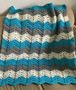 RIPPLE Handmade Crochet baby BOY Afghan 32 x 36 Blanket Turq