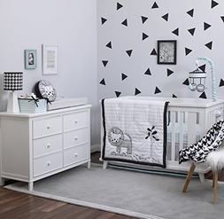 NoJo NoJo - Roar - 4-Piece Crib Bedding Set, Black, White, A