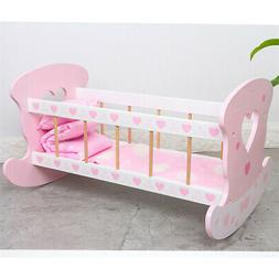 Rocking Cradle Baby Dolls Bed with Pillows Blanket Role Play