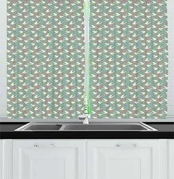 Ambesonne Romantic Kitchen Curtains, Birds Flying with Littl