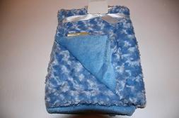 Blankets & Beyond Rosette Blue Super Soft Baby Blanket 30x30