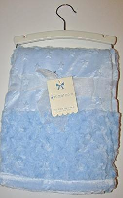 Beautiful Rosette and Star Blue Baby Blanket 30x40""
