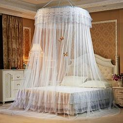 Round Princess Mosquito Net Pastoral Lace Double Lace Bed Ca
