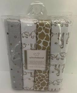 Koala Baby Safari Giraffe Elephant 4pk Set Flannel Brown Gra