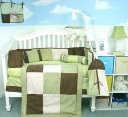 Soho Sage & Brown Suede Baby Crib Nursery Bedding Set 13 pcs