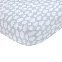 Carter's Sateen Gray Cloud Print Crib Sheet