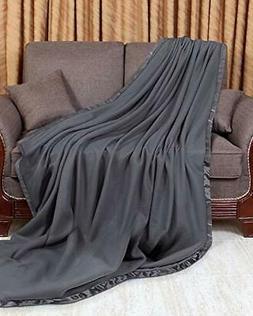 Polar Fleece Premium Bed Blanket with Sateen Ribbon Edges -